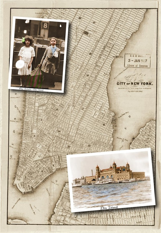 Vintage photo collage of New York City map, Ellis Island, and a boy and girl newly arriving to Ellis Island.