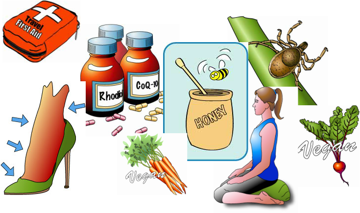 Mixed spot art images: first aid kit, high heel shoe, pill bottles, honey pot, wood tick, meditation, beets, carrots