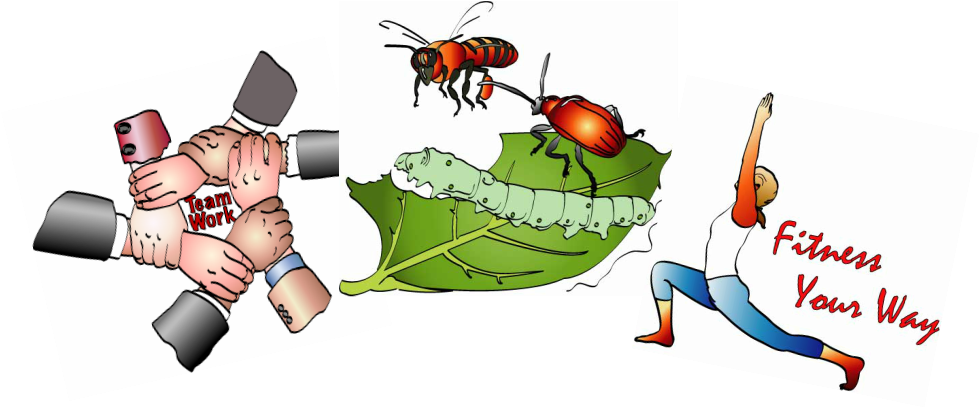 Three spot art digital illustrations, team work, insects, fitness yoga
