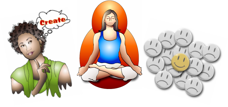 Three digital images of a creative person, meditation, smiley face frowny face buttons