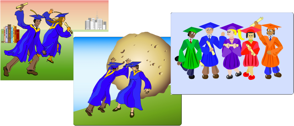 Three vector illustrations with graduation as theme.