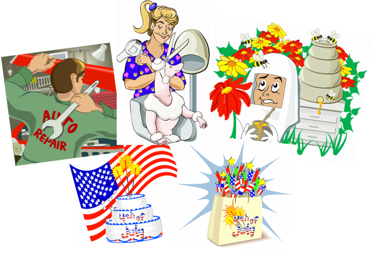 Five vector illustrations, auto mechanic, dog groomer, bee keeper, 4th of july birthday cake, fourth of july bag of fireworks.