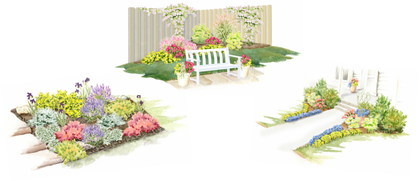 Three garden images in watercolor with colorful flowering plants.