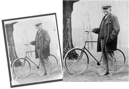 A damaged vintage photo of JDRockefeller and a bicycle is restored and repaired.