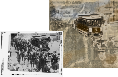 Vintage photo of a trolley and police officers, with a digital art print of a vintage map of New York City.