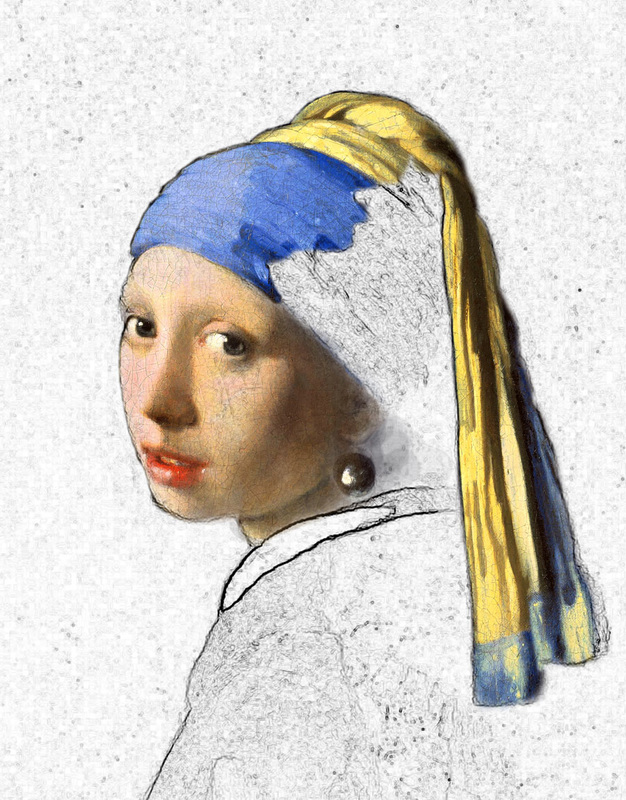 Digital painting borrowing from Rembrandt's Girl with a Pearl Earring.