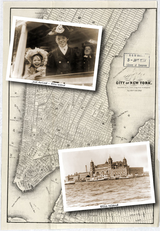 Vintage map of New York City with two old photos of Ellis Island and two girls newly arrived.