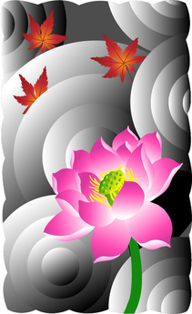 Digital poster of a pink lotus blossom and red Japanese maple leaves.