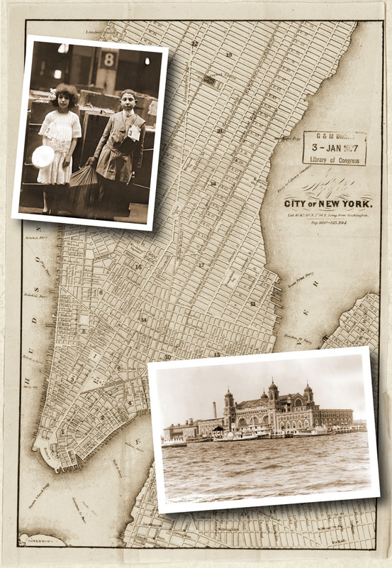 Vintage map of New York City with old photos of Ellis Island and a boy and girl immigrant children.