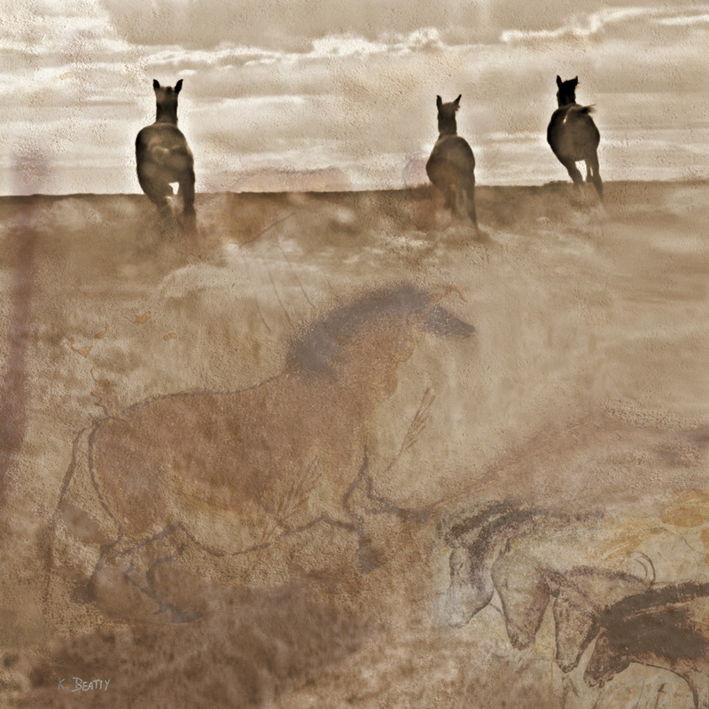 Digital photography art with horses running the range, with cave drawings of horses from Lascaux cave.