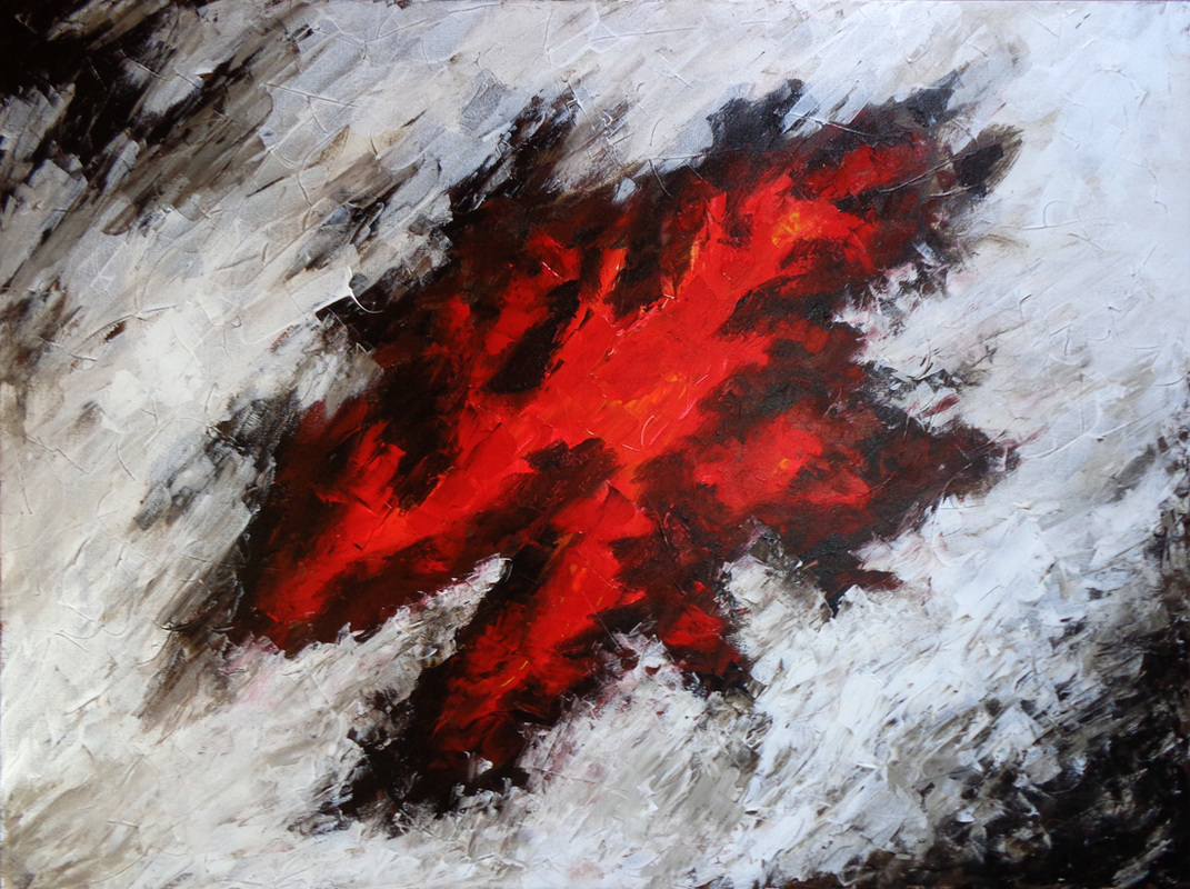 Abstract painting in red and black, vibrant large shape