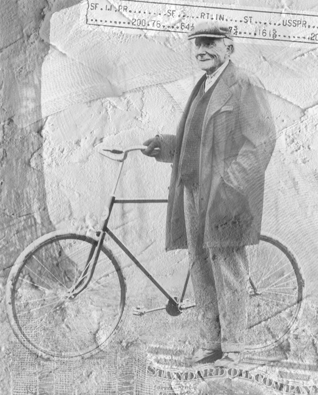 Bicycle and JD Rockefeller is a vintage fine art photo collage with an antique photo of an old-style bicycle held by J. D. Rockefeller.