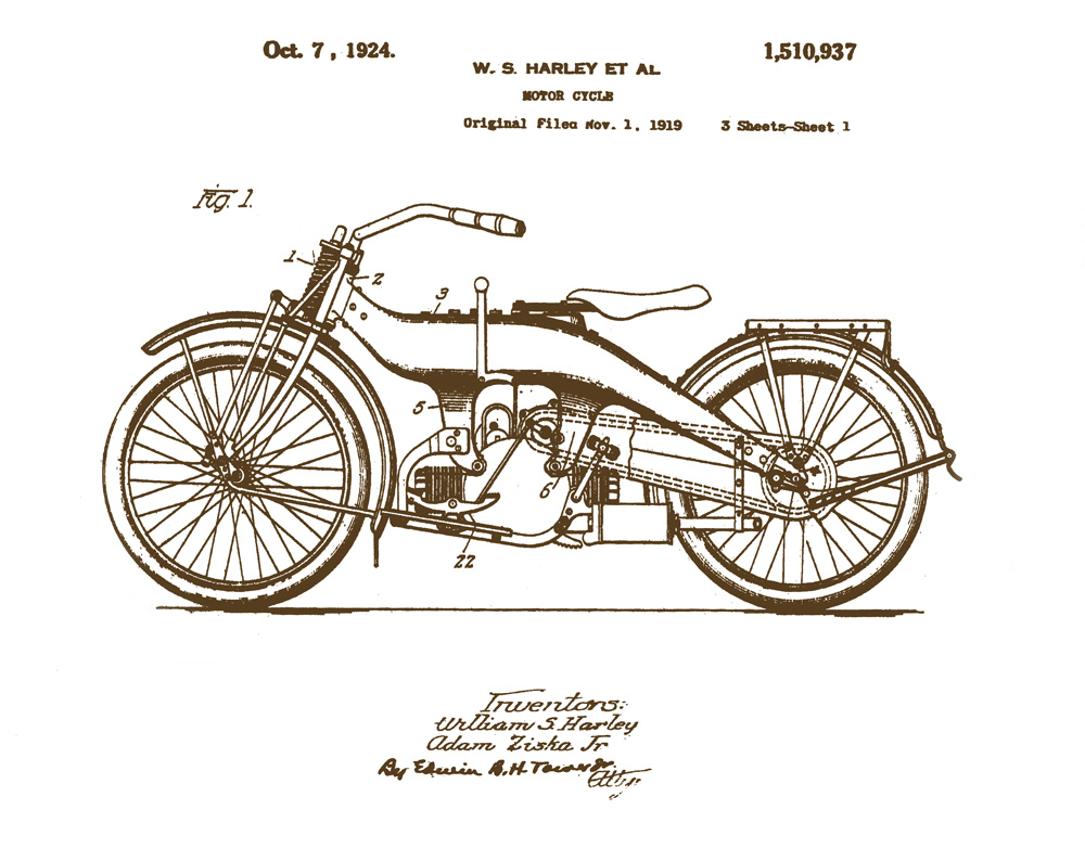 This image is a vintage patent of an old Harley motorcycle in vintage sepia tone.