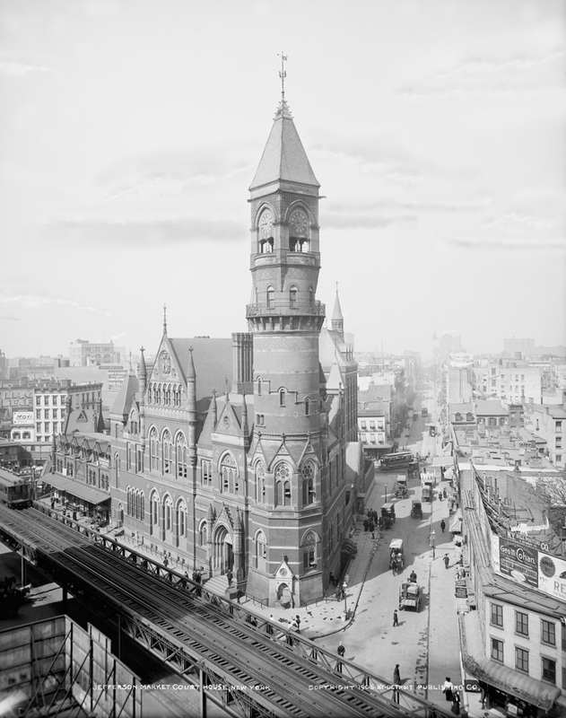 This is a repaired and restored vintage photo of Jefferson Market building in Greenwich Village, New York City, in black and white