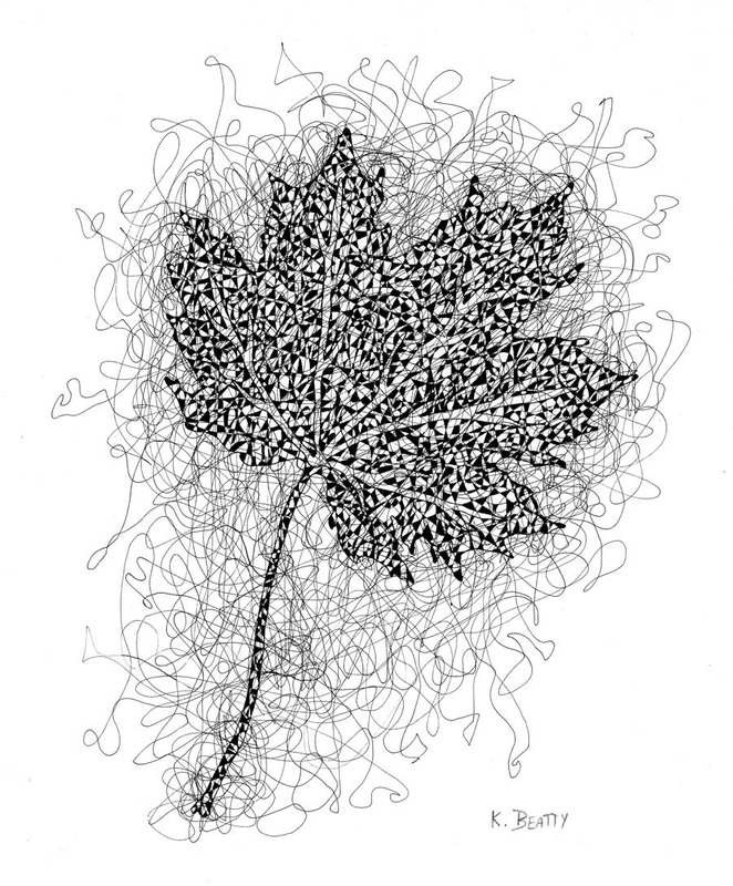 Pen and ink drawing of a maple leaf done in scribble lines.