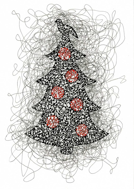 Pen and Ink line drawing of a Christmas tree with red balls and a dove on top done in scribble style.