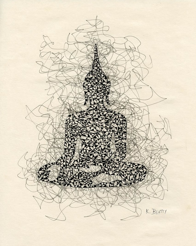 Pen and ink drawing of a seated Buddha meditating.