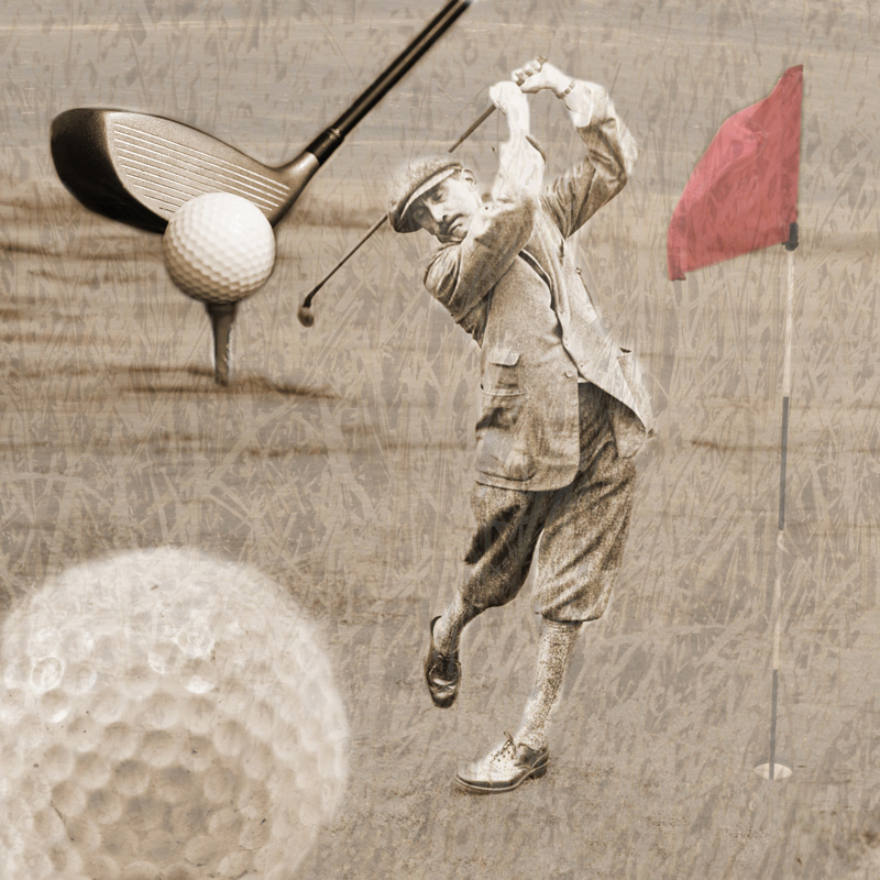 Vintage photo collage of an early 1900s golfer with a golf ball, and red golf flag.