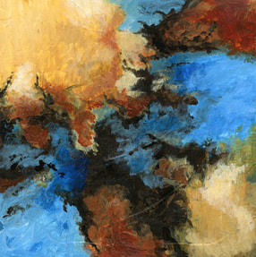 This is a colorful abstract expressionist painting with bold shapes of gold and blue and orange.