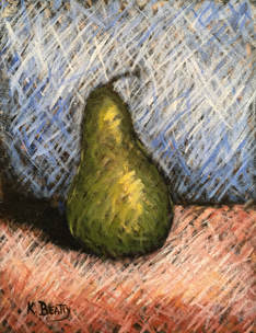A green pear with interesting lighting and shadows, done in a scribble or scumble style.