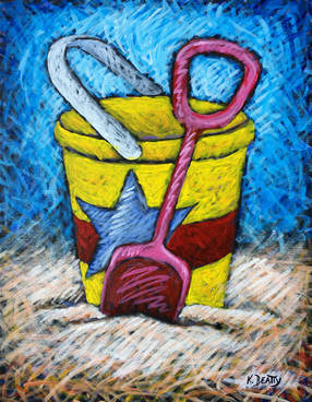 Acrylic painting of a yellow sand bucket on the beach, with a pink shovel, a red stripe and a blue star.